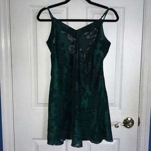 Vintage Victoria's Secret Green Satin Sheer Dress
